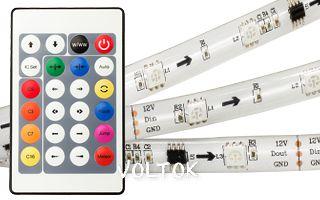 Лента c ПДУ WS-SPI-5000E+IR 12V RGB (5060,150 LED)